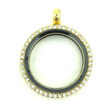 Round living memory floating locket with rhinestones - 29cm - Gold